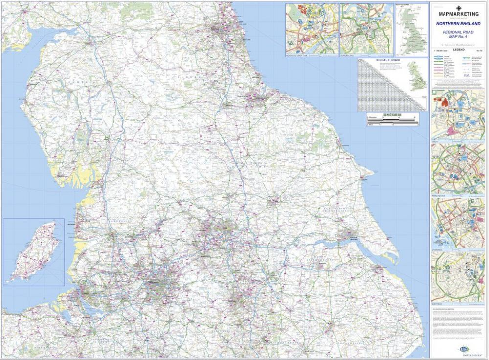 Map Of Northern England.Regional Road Map 4 Northern England Laminated